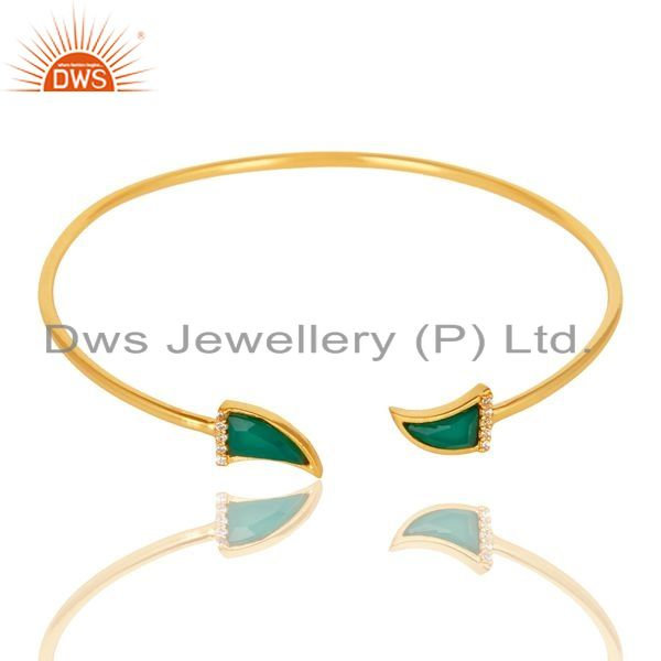 Exporter Green Onyx Tooth Unisex Gold Plated Sterling Silver Openable Bangle