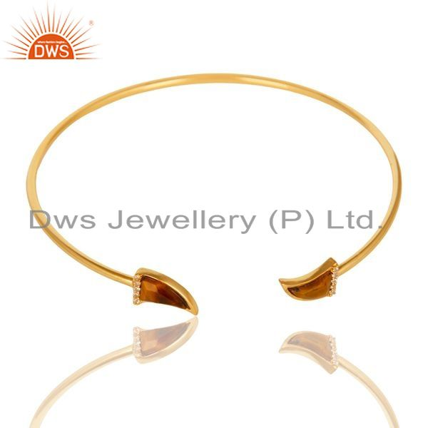 Tigereye Tooth Unisex Gold Plated Sterling Silver Openable Bangle