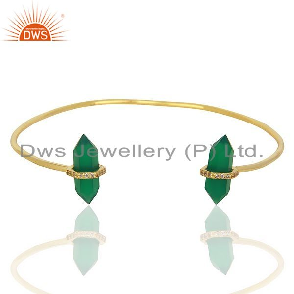 Exporter Green Onyx Pencil Point Healing Openable Adjustable Gold Plated Bangle