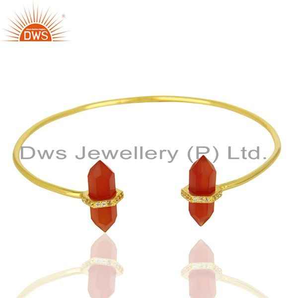 Exporter Red Onyx Pencil Point Healing Openable Adjustable Gold Plated Bangle