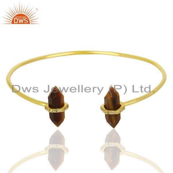 Exporter Tigereye Pencil Point Healing Openable Adjustable Gold Plated Bangle