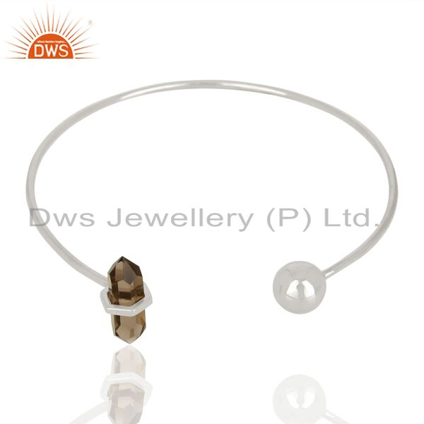 Exporter Smoky Topaz Double Terminated Pencil Point Sterling Silver Thin Openable Bangle