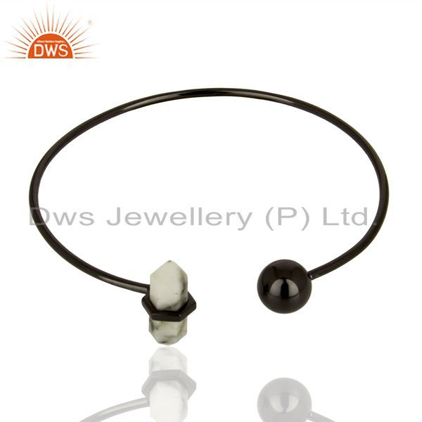 Exporter Howlite Cuff Black Rhodium 925 Sterling Silver Bangle Gemstone Jewelry