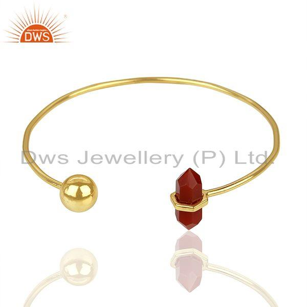 Exporter Red Onyx Double Terminated Pencil Point Openable Gold Plated Silver Bangle