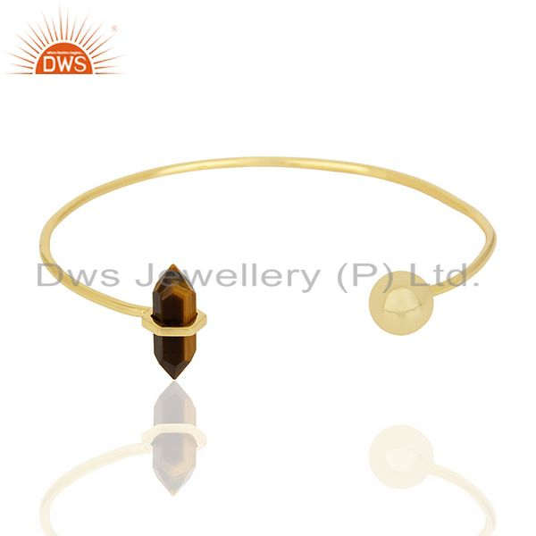 Tigereye Double Terminated Pencil Point Openable Gold Plated Silver Bangle