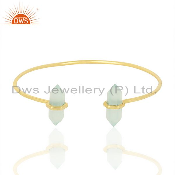 Exporter Aqua Chalcedony Terminated Pencil Point Openable Gold Plated Silver Bangle