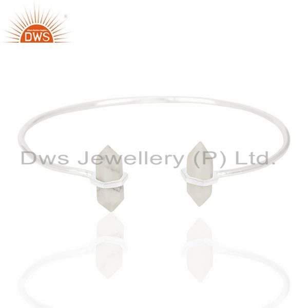 Howlite Terminated Pencil Point Openable 92.5 Sterling Silver Bangle