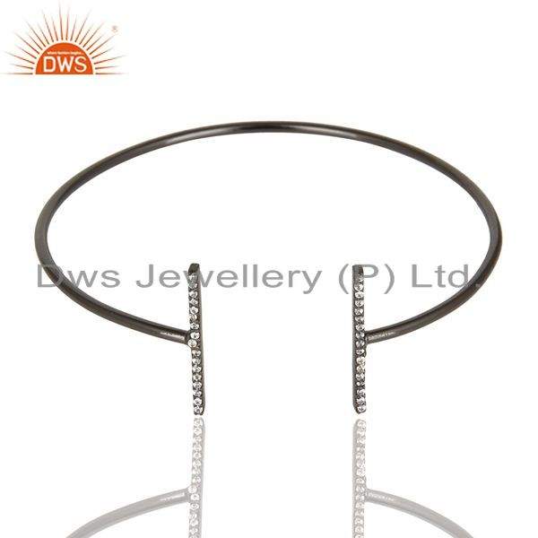 Cz Studded Parallel Bar Bangle Black Rhodium Plated Sterling Silver Bangle