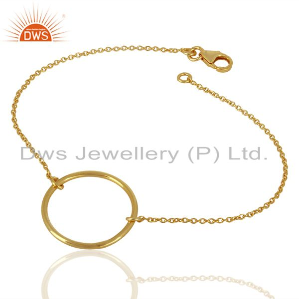 Exporter Simple Round Shape Gold Plated 92.5 Sterlign Silver Wholesale Chain Bracelet