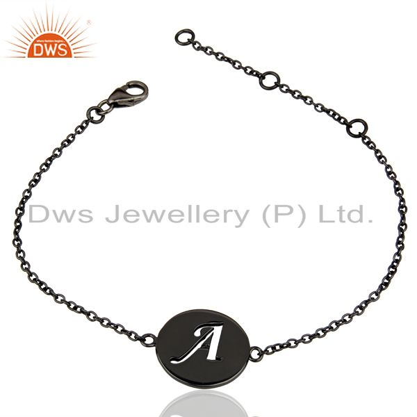 Wholesale A Initial Sleek Chain Black Rhodium Plated 92.5 Sterling Silver Bracelet
