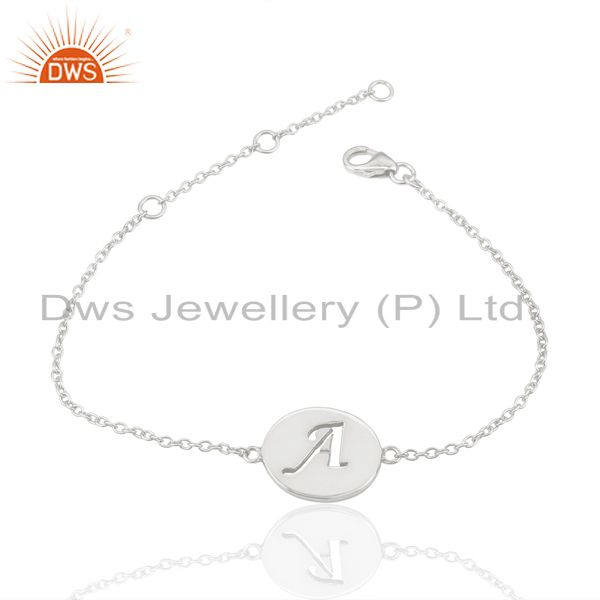 Supplier of A Initial Sleek Chain 92.5 Sterling Silver Wholesale Bracelet Jewelry