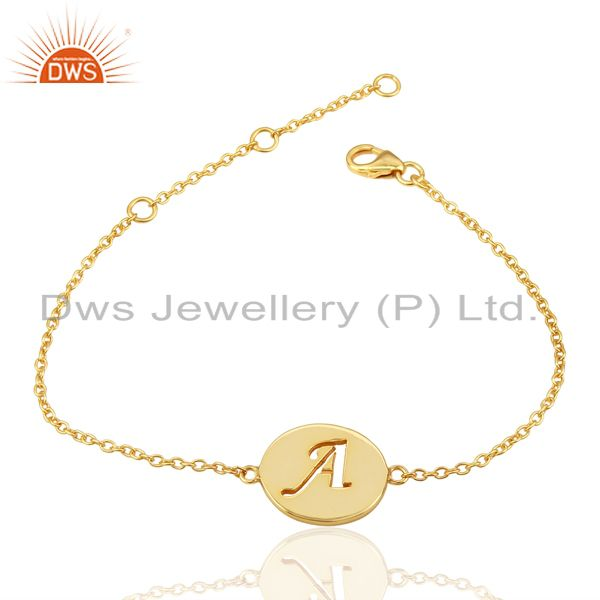 Exporter A Initial Sleek Chain 14K Gold Plated 92.5 Sterling Silver Wholesale Bracelet