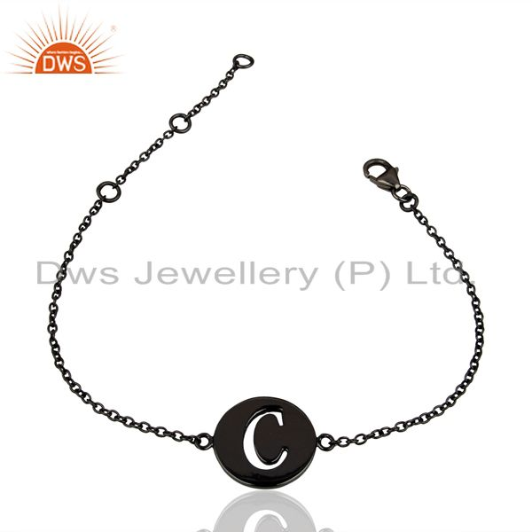Exporter C Initial Sleek Chain Black Rhodium Plated 92.5 Sterling Silver Bracelet