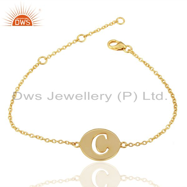Exporter C Initial Sleek Chain 14K Gold Plated 92.5 Sterling Silver Wholesale Bracelet