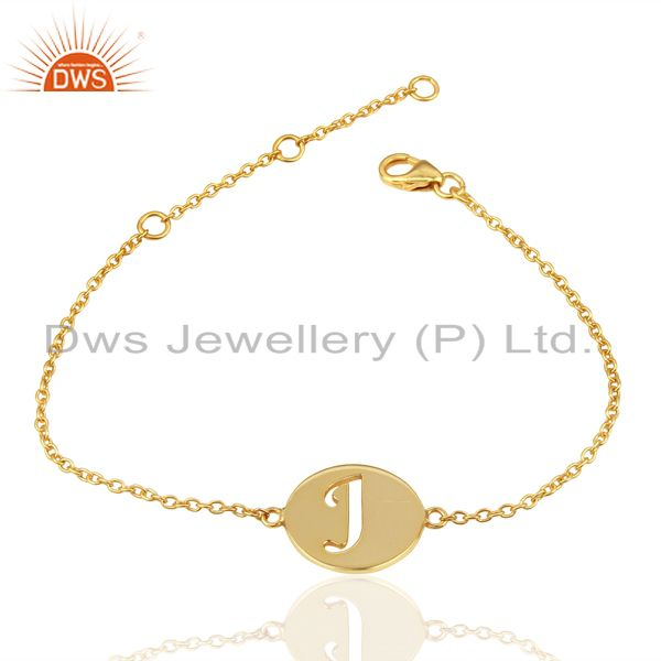 Manufacturer of J Initial Sleek Chain 14K Gold Plated 92.5 Sterling Silver Wholesale Bracelet