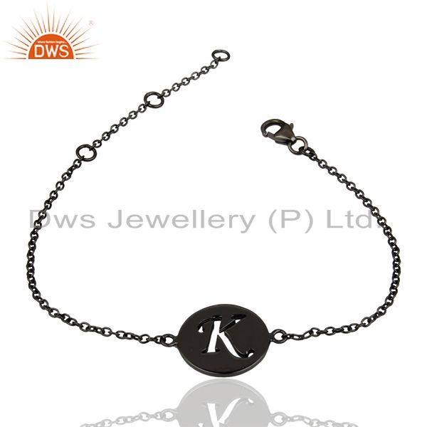 Exporter K Initial Sleek Chain Black Rhodium Plated 92.5 Sterling Silver Bracelet