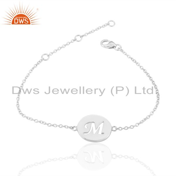 Exporter M Initial Sleek Chain 92.5 Sterling Silver Wholesale Bracelet