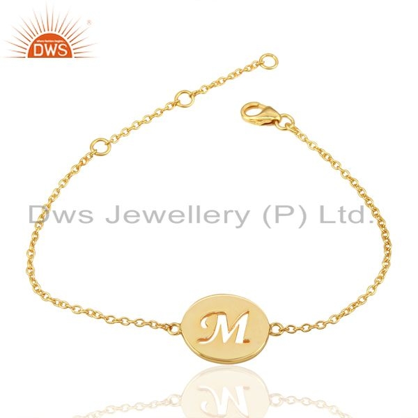 Exporter M Initial Sleek Chain 14K Gold Plated 92.5 Sterling Silver Wholesale Bracelet