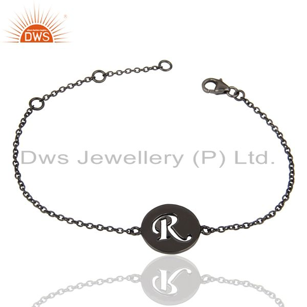 Wholesale RInitial Sleek Chain Black Rhodium Plated 92.5 Sterling Silver Bracelet
