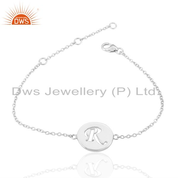 Exporter R Initial Sleek Chain 92.5 Sterling Silver Wholesale Bracelet
