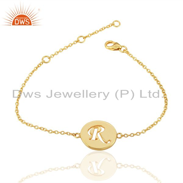 Exporter R Initial Sleek Chain 14K Gold Plated 92.5 Sterling Silver Wholesale Bracelet