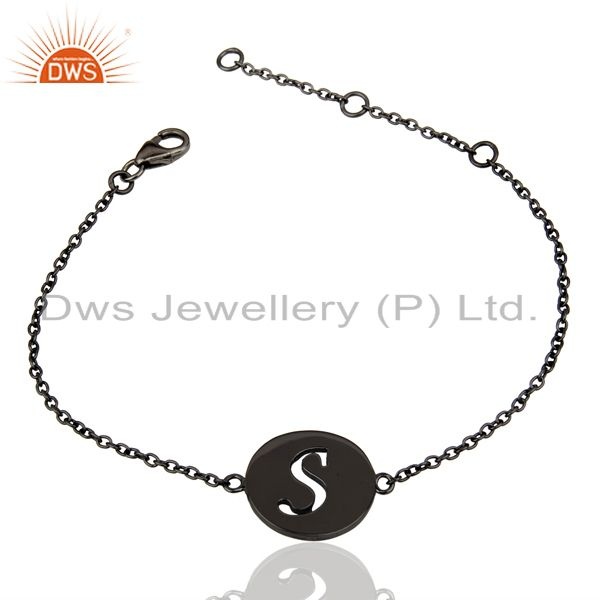 Exporter S Initial Sleek Chain Black Rhodium Plated 92.5 Sterling Silver Bracelet