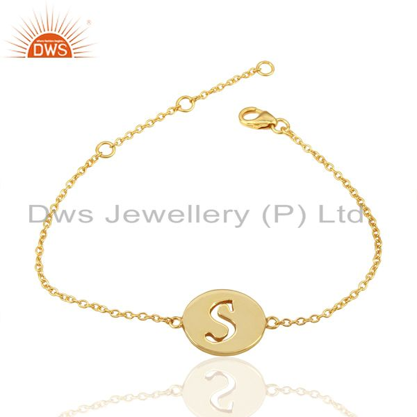 Exporter S Initial Sleek Chain 14K Gold Plated 92.5 Sterling Silver Wholesale Bracelet