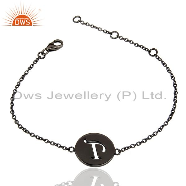 Wholesale T Initial Sleek Chain Black Rhodium Plated 92.5 Sterling Silver Bracelet
