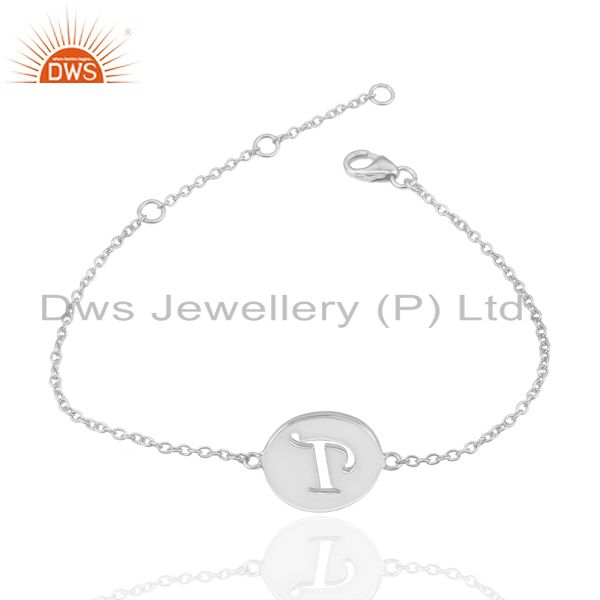 Exporter T Initial Sleek Chain 92.5 Sterling Silver Wholesale Bracelet