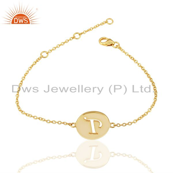 Exporter T Initial Sleek Chain 14K Gold Plated 92.5 Sterling Silver Wholesale Bracelet