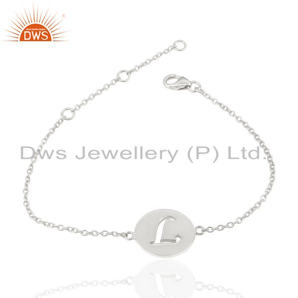 Exporter L Initial Sleek Chain 92.5 Sterling Silver Wholesale Bracelet