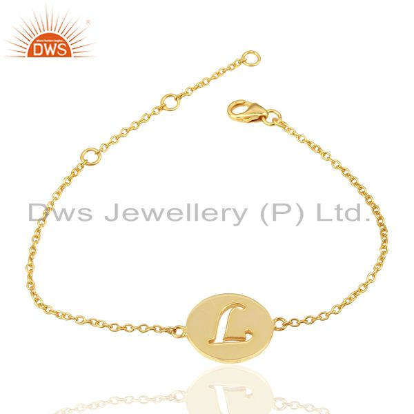 Exporter L Initial Sleek Chain 14K Gold Plated 92.5 Sterling Silver Wholesale Bracelet