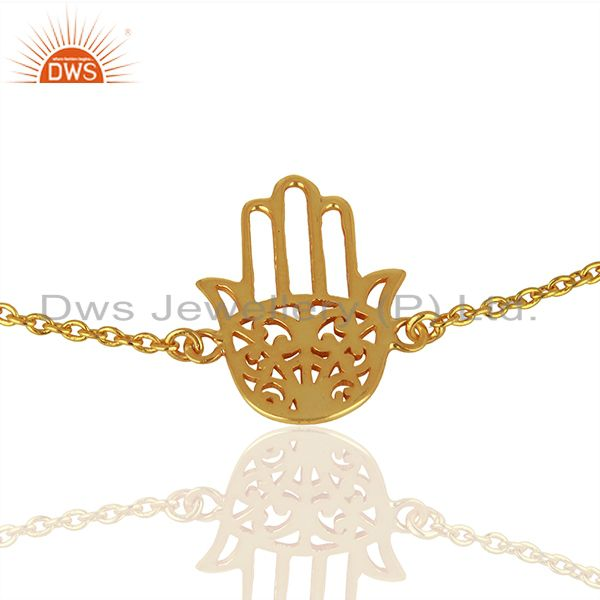 Exporter Hamsa 925 Sterling Silver 18k Yellow Gold Plated Hand Bracelet