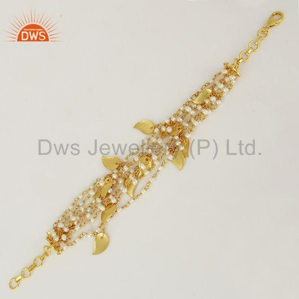 Exporter Gold Plated Natural Pearl Beads 925 Silver Girls Bracelet Supplier