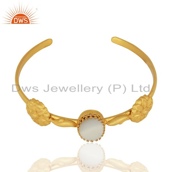 Exporter Mother of Pearl Gemstone Gold Plated Silver Cuff Bracelet Manufacturer
