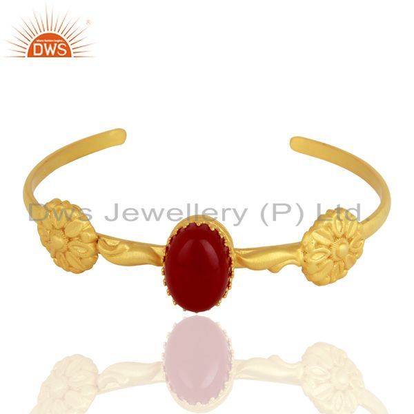 Exporter Red Aventurine Gemstone Gold Plated 925 Silver Cuff Bangle Bracelet