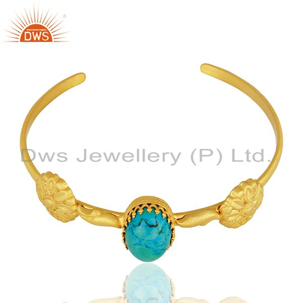 Exporter Natural Turquoise Gemstone Gold Plated Silver Fashion Cuff Bracelet