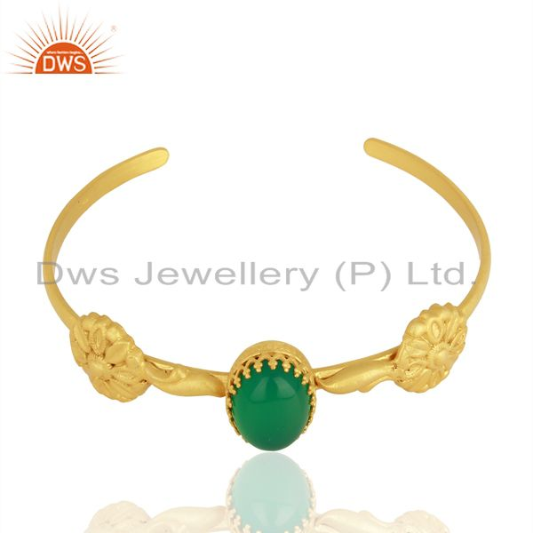 Exporter Handmade Gold Plated 925 Silver Green Onyx Gemstone Cuff Bangle