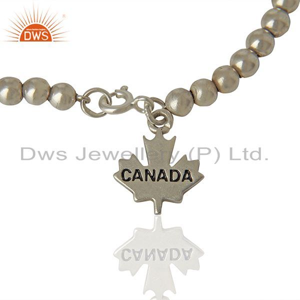 Exporter Canada Maple Leaf 925 Sterling Silver Oxodized Plating Macramé Bracelet