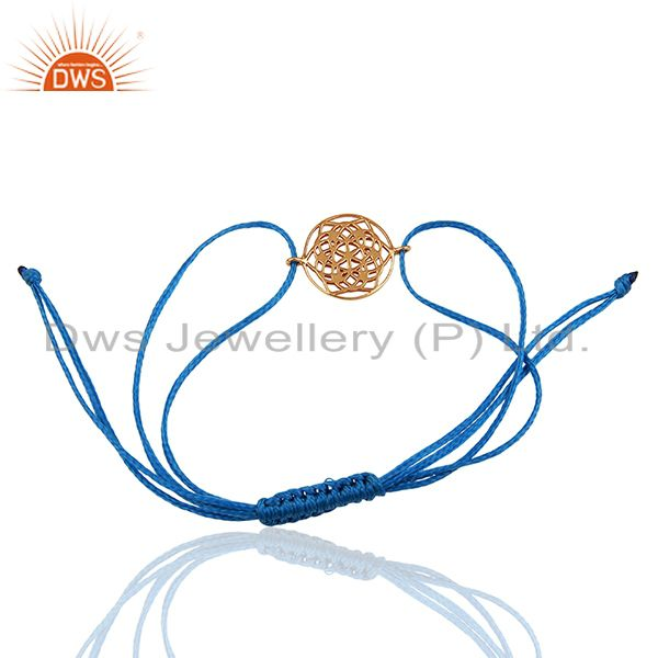 Exporter Flower of Life 925 Sterling Silver 18k Rose Gold Plated Blue Thread Bracelet