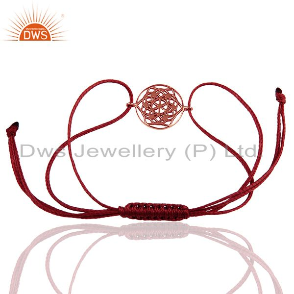 Exporter Flower of Life 925 Sterling Silver 18k Rose Gold Plated Brown Thread Bracelet