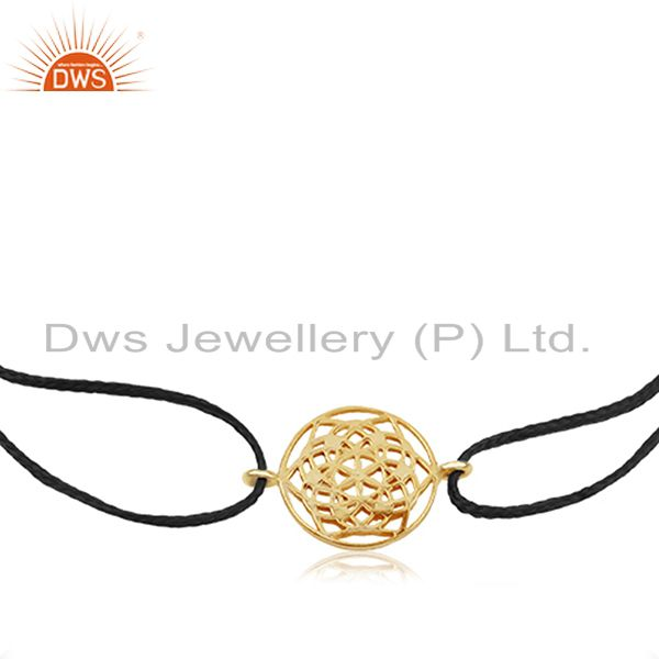 Exporter Flower of Life 925 Sterling Silver 18k Gold Plated On Dark Blue Thread Bracelet