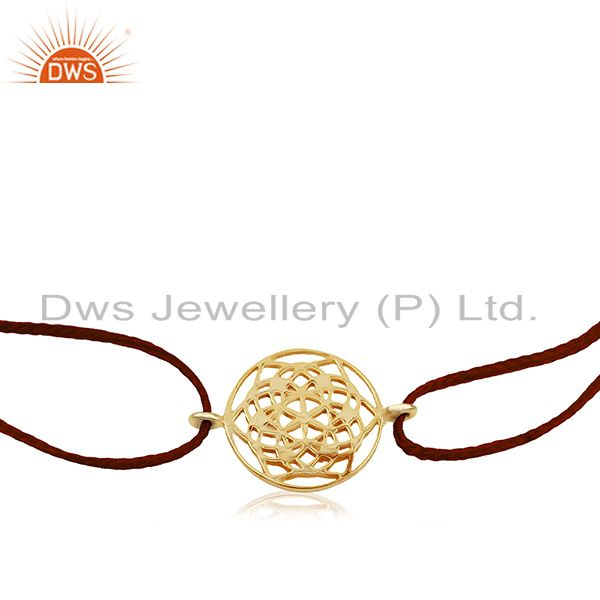 Exporter Flower of Life 925 Sterling Silver 18k Yellow Gold Plated Bracelet On Thread