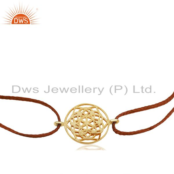 Exporter Flower of Life 925 Sterling Silver Yellow Gold Plated Bracelet On Orange Thread
