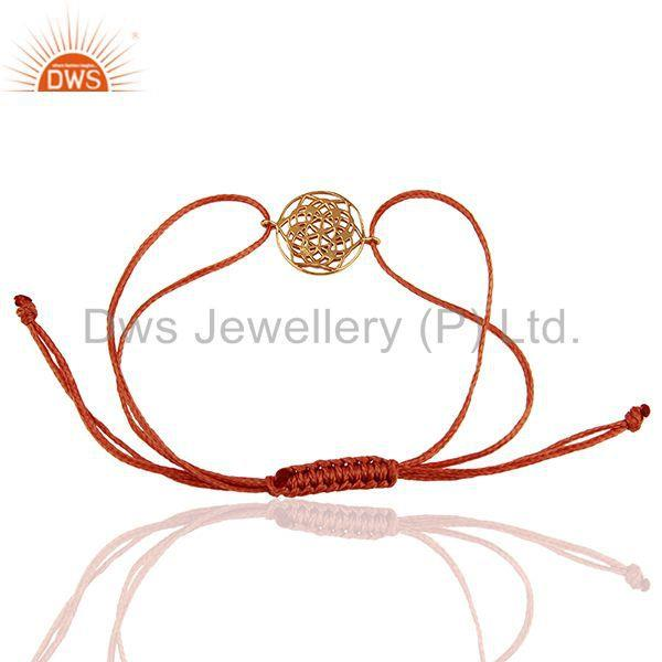 Exporter Flower of Life 925 Sterling Silver 18k Rose Gold Plated Orange Thread Bracelet