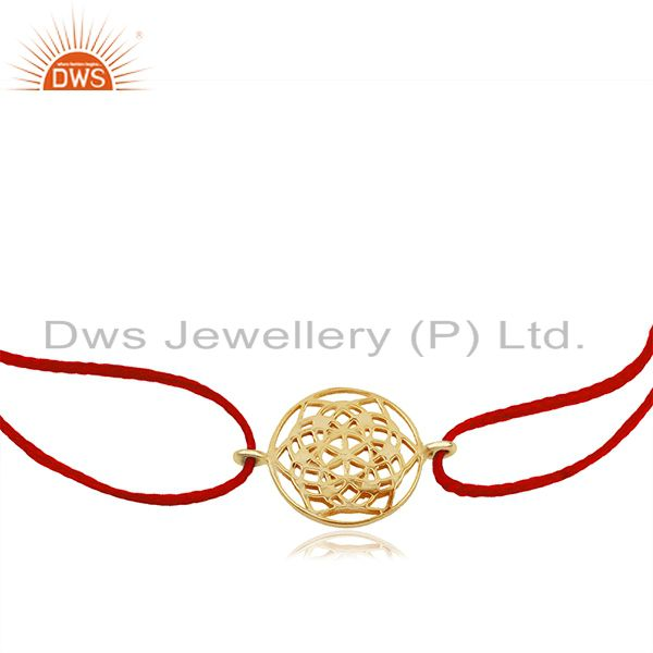 Exporter Flower of Life 925 Sterling Silver 18k  Gold Plated Red Thread Bracelet Jewelry