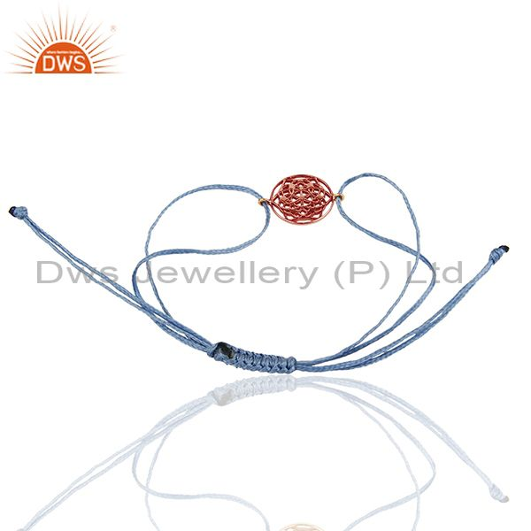 Exporter Flower of Life 925 Sterling Silver 18k Rose Gold Plated Sky Blue Thread Bracelet