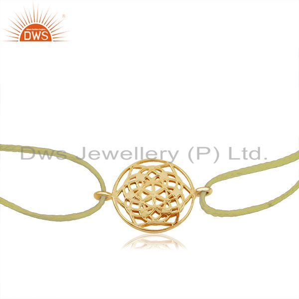 Exporter Flower of Life 925 Sterling Silver 18k Gold Plated On Yellow Thread
