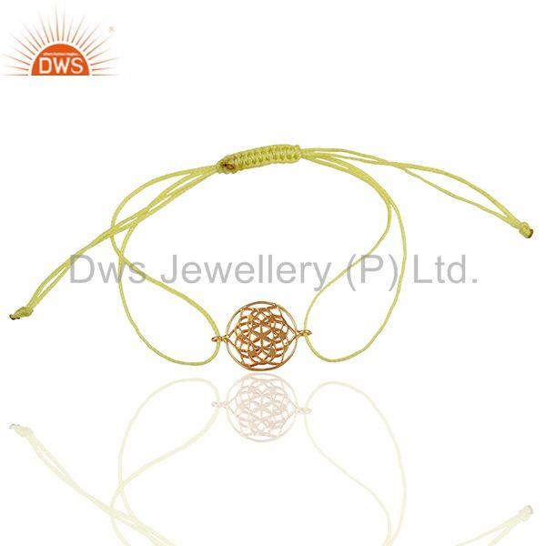 Exporter Flower of Life 925 Sterling Silver 18k Rose Gold Plated Yellow Thread Bracelet