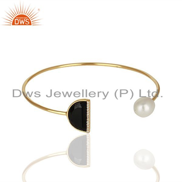 Exporter Natural Pearl and Black Onyx Gemstone Solid Silver Cuff Bracelet
